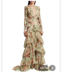 Raise vanessa floral tier draped ruffle gown